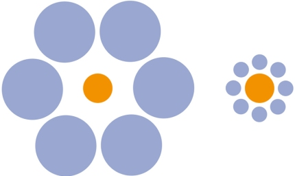 You probably experience, that you see two differently sized orange circles in this pic, because that is what the part of the brain, that measures perspective and scale, will tell you. Due to the blue circles it appear as they are not the same size. But you are wrong. Each orange circle is the same size. You are also wrong, if you think persons are different, and that they are in a world of duality. It is an illusion. Everything is sizeless.
