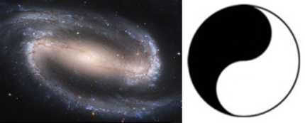 Please do not take the comparison of the inner breath to an yin yang sign too literally. An yin yang sign is all too simplified to really illustrate the inner breath.Yet it might give you an idea about the inner breath, which can also be compared to a spiral like the galaxy in this image, that the stylish yin yang sign might a simplified version of.
