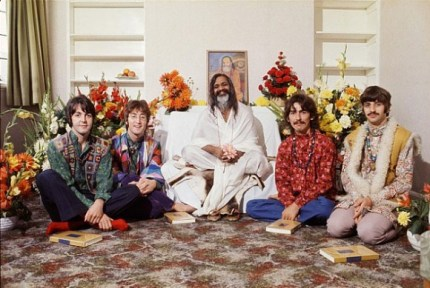Though the Beatles followed Maharishi Mahesh Yogi for some time, they never transcended and neither did any other of his followers to whom he gave a secret mantra, which could as well had been Coca Cola. The image of the Beatles and xxx from 1967 is grabbed from the web.